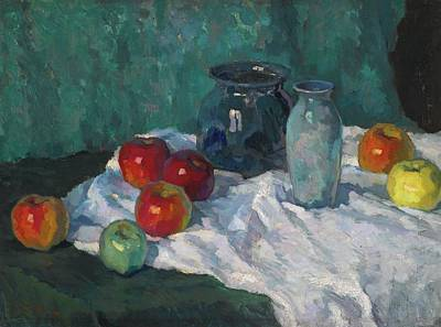Still Life With Green Apples Painting - Still Life With Apples by Konstantin Ivanovich