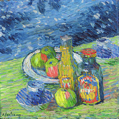 Painting - Still Life With Bottles And Fruit by Alexej von Jawlensky