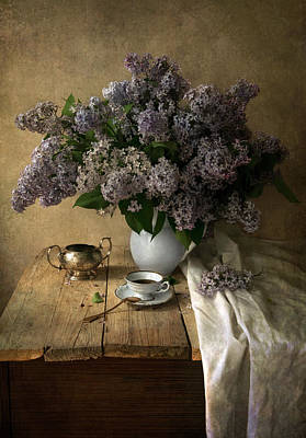 Photograph - Still Life With Bouquet Of Fresh Lilacs by Jaroslaw Blaminsky