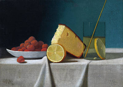 Painting - Still Life With Cake, Lemon, Strawberries, And Glass by John Frederick Peto