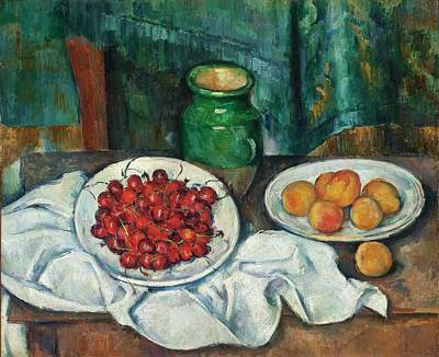 Painting -  Still Life With Cherries And Peaches by Paul Cezanne
