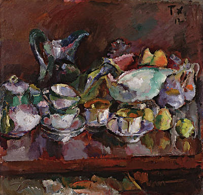 Painting - Still Life With Coffee Cups  by Anton Faistauer