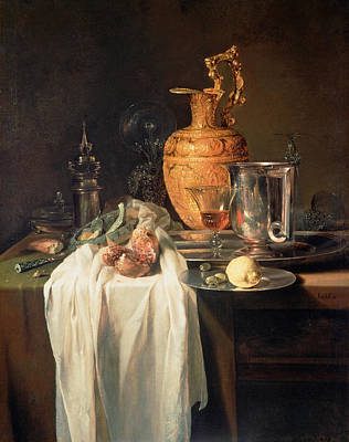 Table Cloth Painting - Still Life With Ewer, Vessels And Pomegranate by Willem Kalf