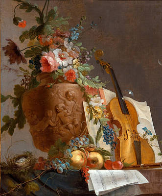 Bachelier Painting - Still Life With Flowers And A Violin by Jean-Jacques Bachelier
