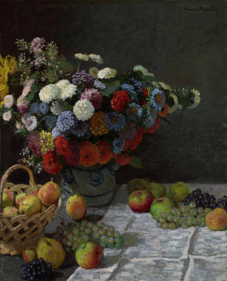 Food And Beverage Painting - Still Life With Flowers And Fruit by Claude Monet