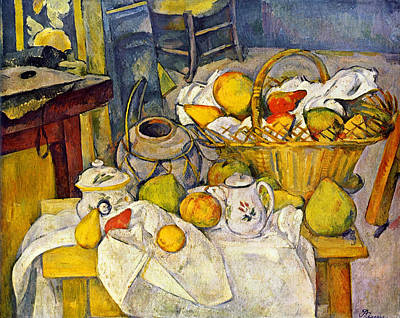 Cloth Painting - Still Life With Fruit Basket by Paul Cezanne