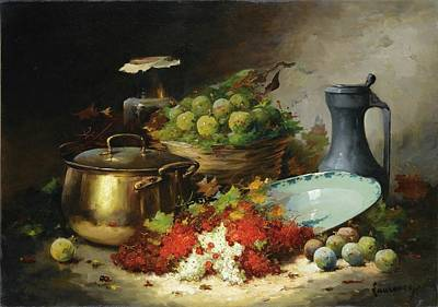 Flower Painting - Still Life With Fruits And A Copper Basin by MotionAge Designs