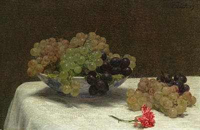 Painting - Still Life With Grapes And A Carnation by Henri Fantin-Latour