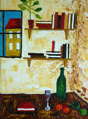 Bookshelf Painting - Still Life With Green Bottle by Peter Silkov