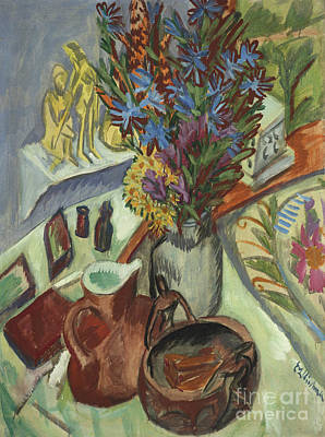 Still Life With Jug And African Bowl Art Print by Ernst Ludwig Kirchner