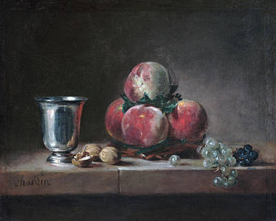 Painting - Still Life With Peaches, A Silver Goblet, Grapes, And Walnuts by Jean-Simeon Chardin