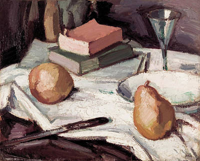 Painting - Still Life With Pears And Wineglass by Samuel Peploe
