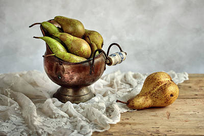 Brown Leaf Photograph - Still-life With Pears by Nailia Schwarz
