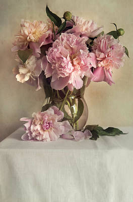 Photograph - Still Life With Pink Peonies by Jaroslaw Blaminsky