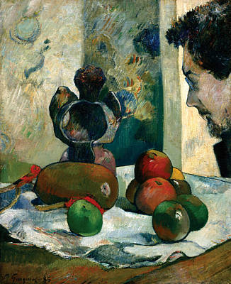 Table Cloth Painting - Still Life With Profile Of Laval by Paul Gauguin