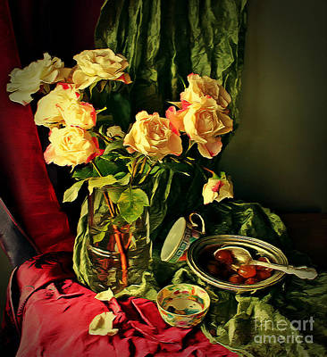 Digital Art - Still Life With Roses- by Binka Kirova