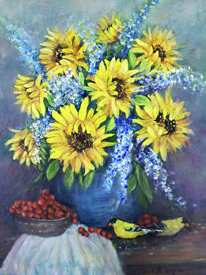 Painting - Still Life With Sunflowers by Loretta Luglio