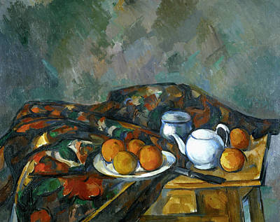 Table Cloth Painting - Still Life With Teapot by Paul Cezanne