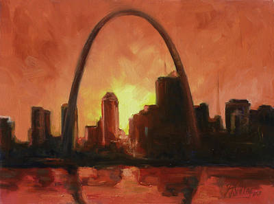 Sunset Painting - St.louis Downtown - Sunset by Irek Szelag