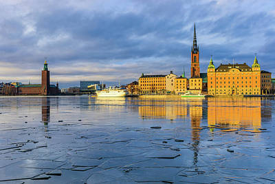 Photograph - Golden Hour Stockholm Ice Reflection by Dejan Kostic