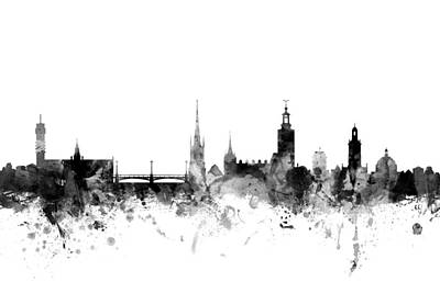 Stockholm Digital Art - Stockholm Sweden Skyline by Michael Tompsett