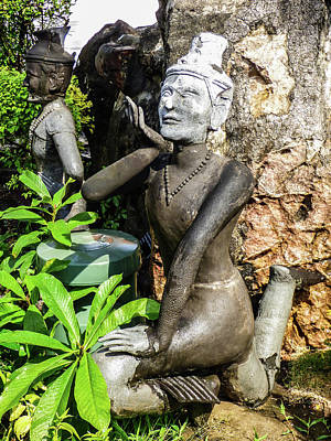 Photograph - Stone Statue Depicting A Thai Yoga Pose At Wat Pho Temple by Helissa Grundemann
