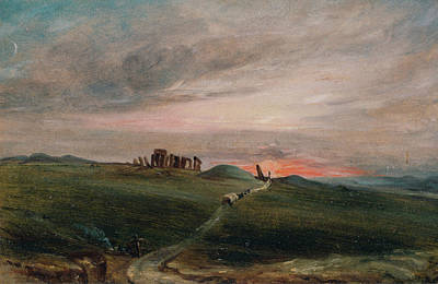 Road Painting - Stonehenge At Sunset by John Constable