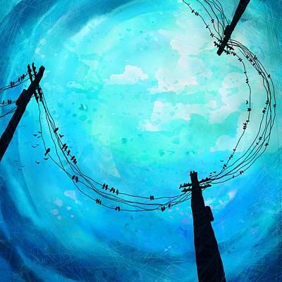 Telephone Poles Digital Art - A Birds World by Rachel Christine Nowicki