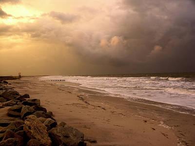 Storm On The Beach Art Print by Paul Boroznoff