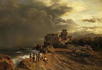 German Art Painting - Storm On The Italian Coast by Oswald Achenbach