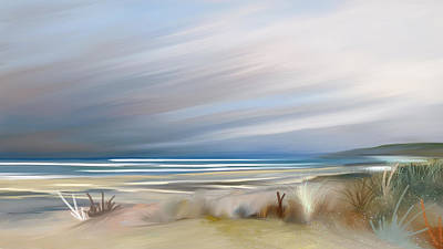 Mixed Media - Storm Over Beach by Anthony Fishburne