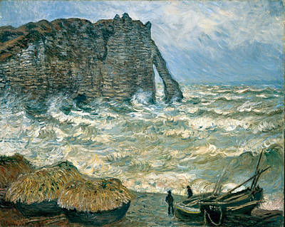 Shore Painting - Stormy Sea In Etretat by Claude Monet
