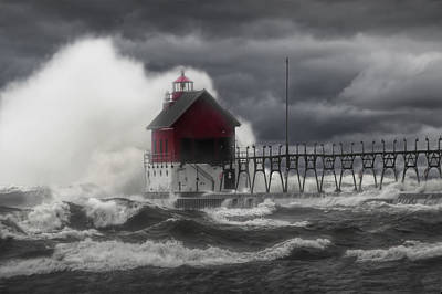Photograph - Stormy Weather At The Grand Haven Lighthouse by Randall Nyhof