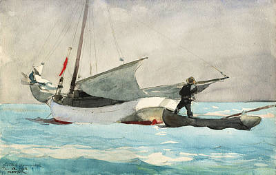 American Painters Painting - Stowing Sail by Winslow Homer