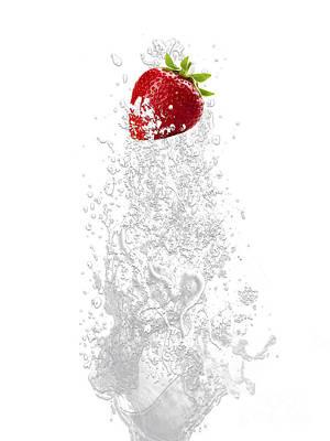 Strawberry Splash Art Print by Marvin Blaine