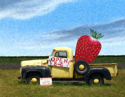 Strawberry Truck Art Print by Snake Jagger