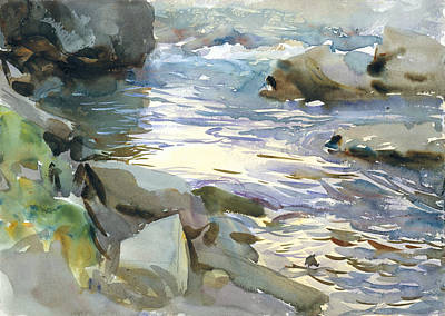 Drawing - Stream And Rocks by John Singer Sargent