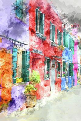 Photograph - Street In Burano Italy Near Venice by Brandon Bourdages