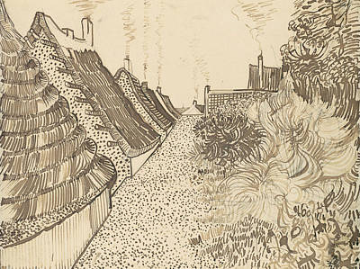 Van Gogh Drawing - Street In Saintes-maries-de-la-mer by Vincent van Gogh