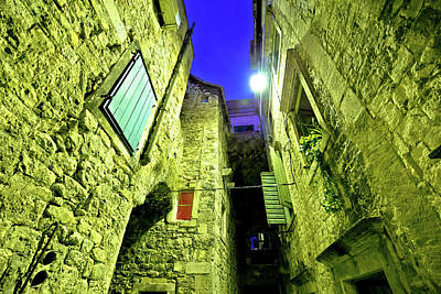Photograph - Street Od Old Split Stone Architecture Evening View by Brch Photography