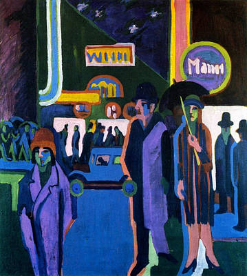 Stroll Painting - Street Scene At Night by Ernst Ludwig Kirchner