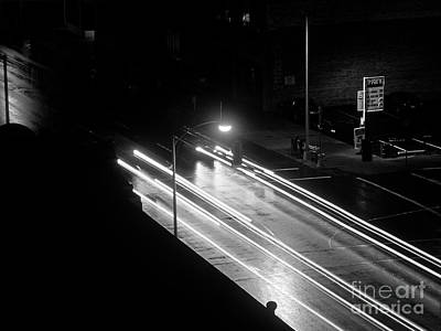 Photograph - Street Scene Car Lights by Jim Corwin