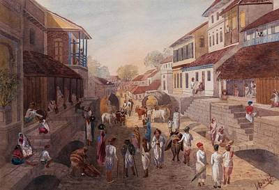 Middleton Painting - Street Scene In The City Of Poona by Julius Middleton