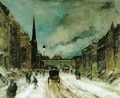Snow Shovels Photograph - Street Scene With Snow New York City by Robert Henri