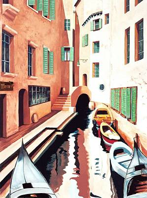 Shutters Painting - Streets Of Venice - Prints From Original Oil Painting by Mary Grden Fine Art Oil Painter Baywood Gallery