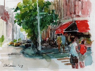 Painting - Streetscape With Red Awning - 82nd Street Market by Peter Salwen