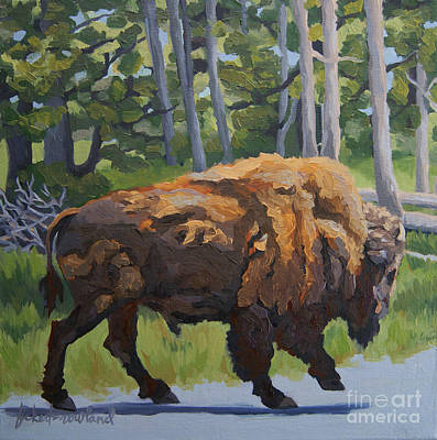 Art Print featuring the painting Strutting Along, Yellowstone by Erin Fickert-Rowland