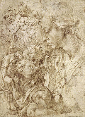 Sketch Drawing - Studies For A Holy Family by Michelangelo Buonarroti