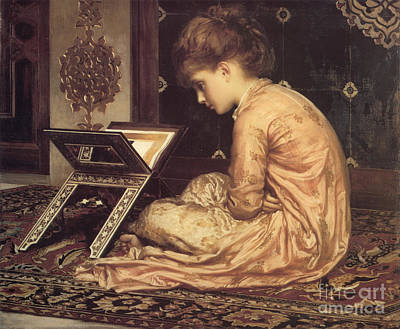 Leighton Painting - Study At A Reading Desk by Celestial Images