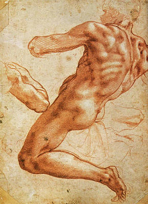 Drawing Drawing - Study For An Ignudo by Michelangelo Buonarroti